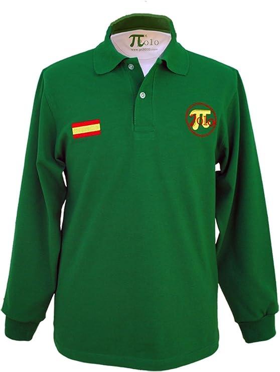 Pi2010 - Polo Hombre Verde y Blanco/Bordado Bandera de España en Pecho/Fabricado en España / 100% algodón 240grs: Amazon.es: Ropa y accesorios