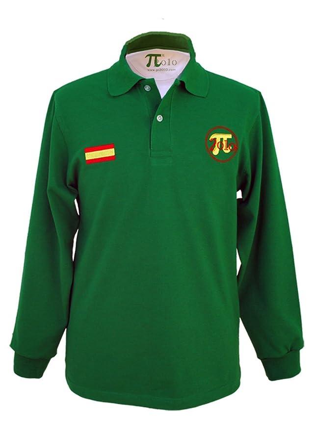 Pi2010 - Polo Hombre Verde y Blanco/Bordado Bandera de España en ...