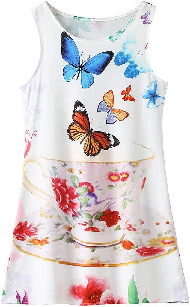 Oliviavan Toddler Girls Princess Dress Kids Baby Printing Party Sleeveless Birthday Party Costume