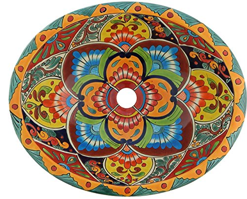- Talavera Mexican Ceramic Bathroom Handmade Hand Painted Sink 21 x 17 Large