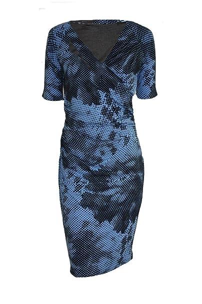 Vestido Envuelto Tejido con Estampado de Puntos Azules de Longitud hasta la Rodilla: Amazon.es: Ropa y accesorios
