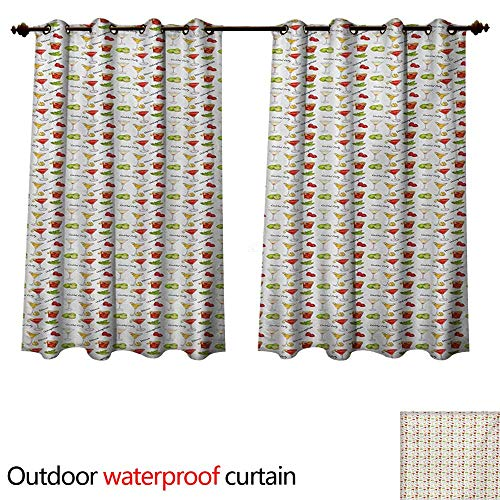 (WilliamsDecor Colorful 0utdoor Curtains for Patio Waterproof Delicious Cocktails in Different Glasses Lime Berries and Mint Tasty Party Drinks W55 x L72(140cm x 183cm))
