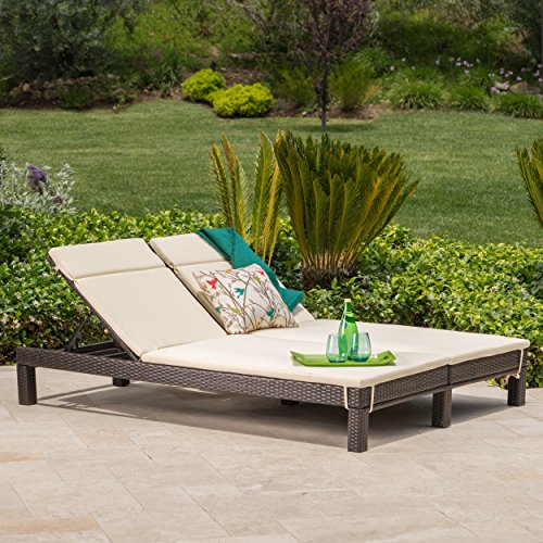 GDF Studio Patio Furniture ~ Outdoor Wicker Dual Chaise Lounge Chair (Dual Chaise Lounge)