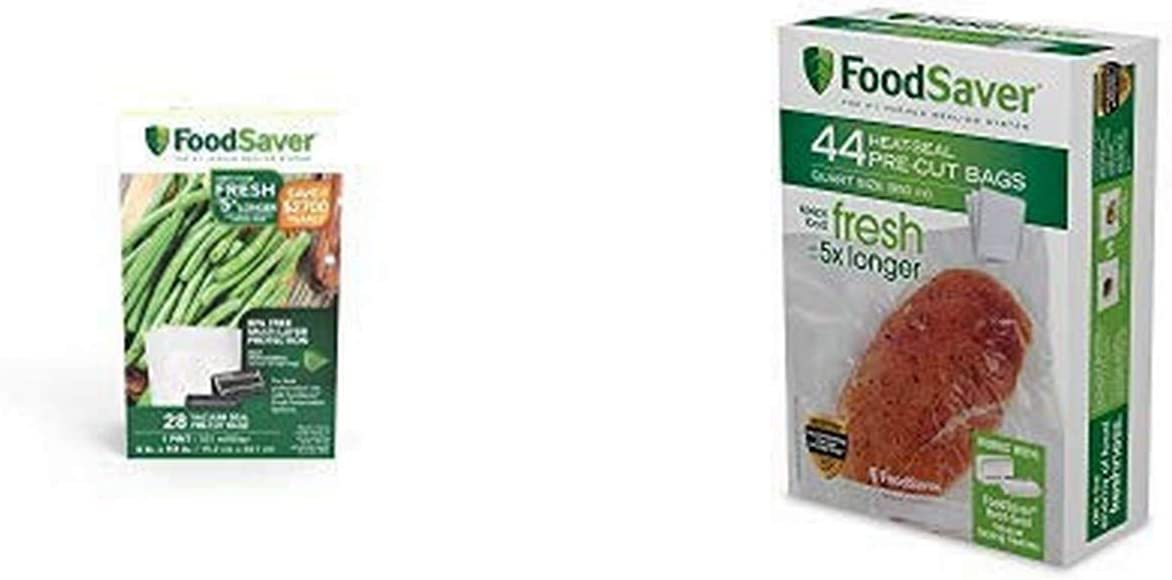 FoodSaver FSFSBF0226-FFP Bags with Unique Multi Layer Construction Vacuum Sealers, 44 Quart Size Bags, Clear & FoodSaver 28 Pint-sized Bags with unique multi layer construction, BPA free