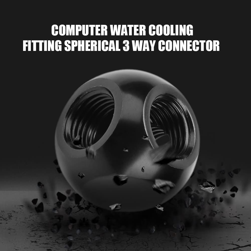 Gojiny G1//4 T-Splitter Fitting Computer Water Cooling Fitting Cooled PC Fitting Reservoir Sled Tube Compression Rotary Screw Adapter Spherical Connector G1//4 Threaded 3 Way Brass Black