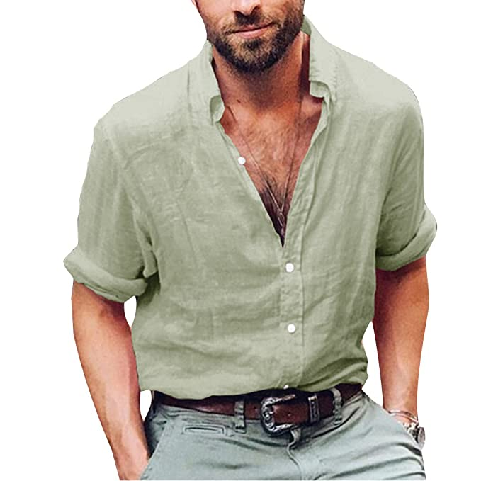 Hibote Camisa Hombre Lino Casual de Manga 3/4 Top Cuello Alto de Color Sólido Suelta Camisas de Trabajo Suave Cómodo Transpirable… puKMuNId