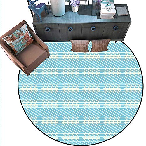 Geometric Non-Slip Round Rugs Crosswise Angled Stripes with Blue Background Vintage Inspired Illustration Living Dinning Room and Bedroom Rugs (5' Diameter) Pale Blue Cream