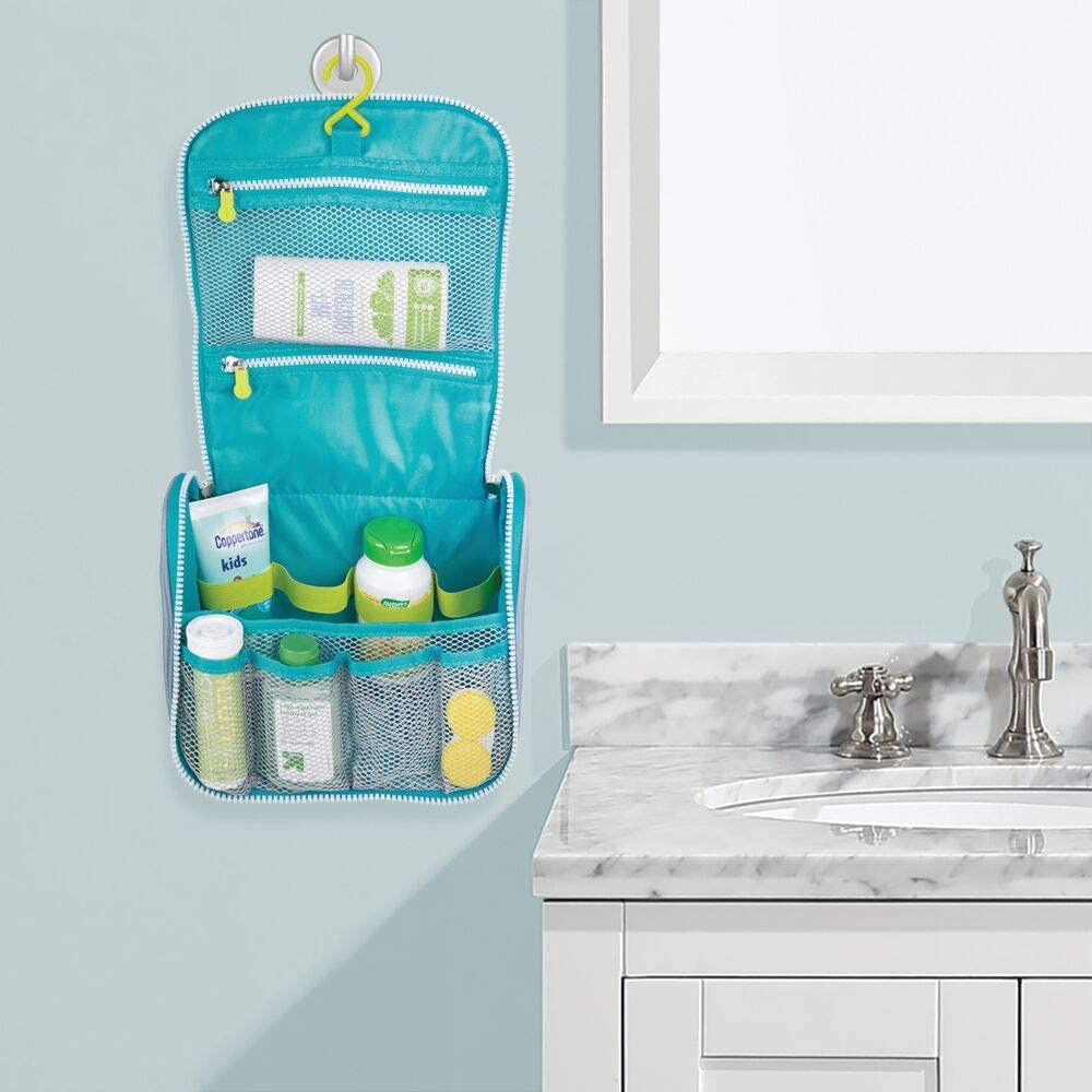 Perfect for Packing Luggage//Suitcase and Carry-On Gray//Teal Blue Trim mDesign Travel Makeup Toiletry Hanging Organizer Bag Hanging Hook and Two-Way Zipper Integrated Handle White Zipper