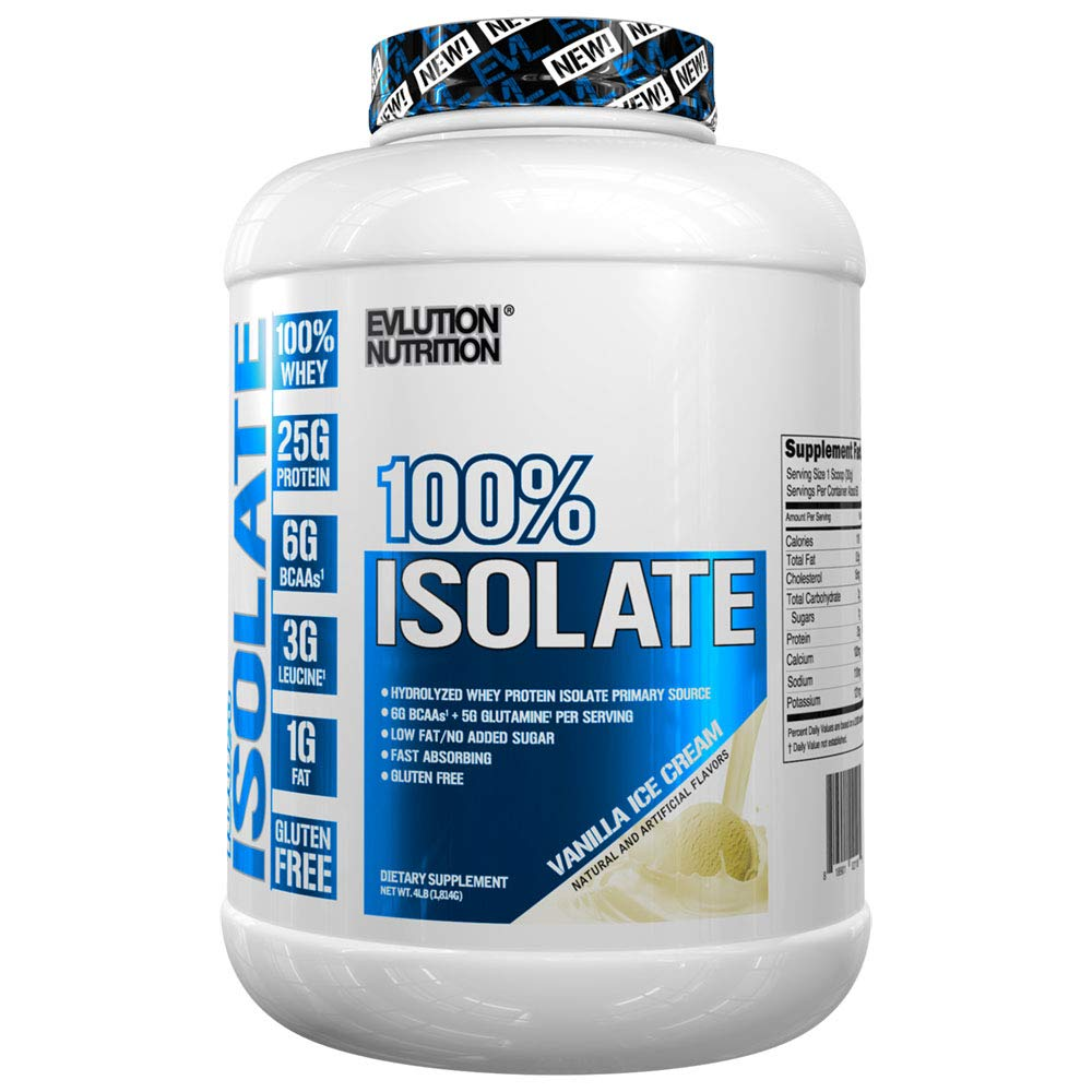 Evlution Nutrition 100% Isolate, Hydrolyzed Whey Isolate Protein Powder, 25 G of Fast Absorbing Protein, No Sugar Added, Low-Carb, Gluten-Free (Vanilla Ice Cream, 4 LB) by Evlution