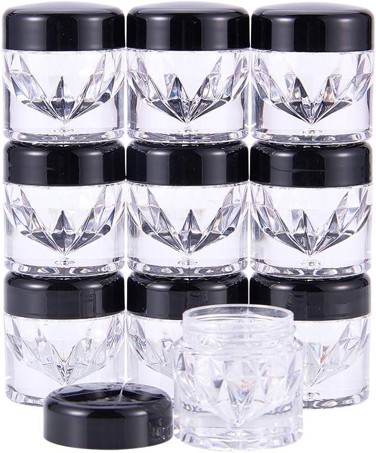 BENECREAT 10 Pack Luxury Mini Diamond Shape Loose Powder Bottle Empty Powder Case- Travel Cosmetic Glitter Powder Eye Shadow Powder Box Pots Bottles with Sifter and Lids
