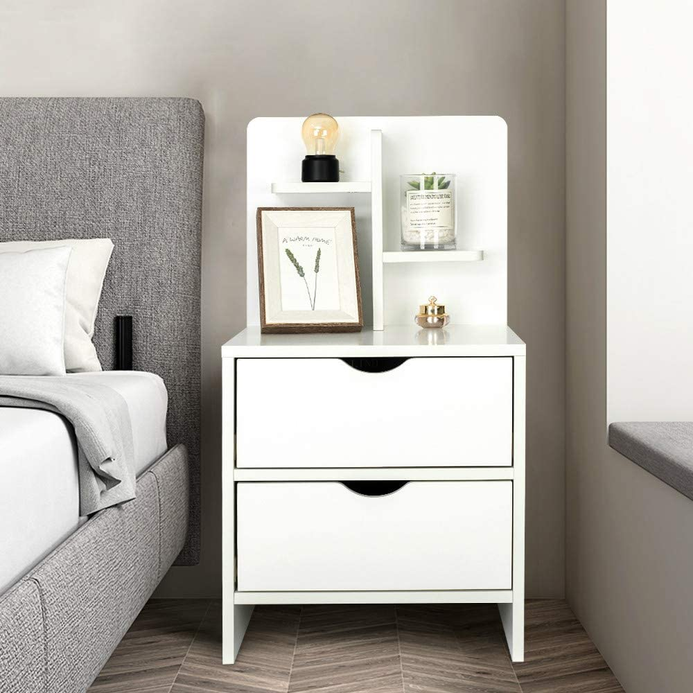 YOURLITE Wood End Table with Storage Shelf 2 Drawers Nightstand Side Table Cabinet Bedside Furniture for Bedroom, Home