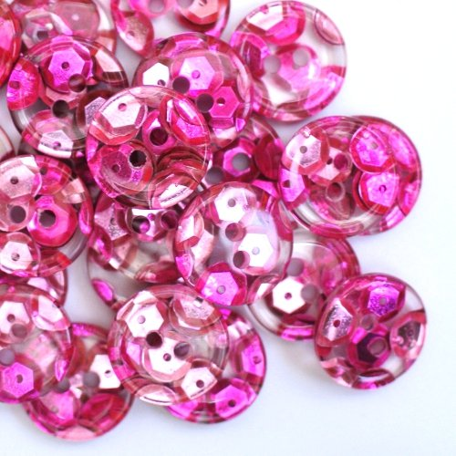 (Button Paradise Sewing Buttons - Set of 10 Fancy Plastic Buttons with Pink Sequins Implicated - Colour: Pink, Transparent, 0.7