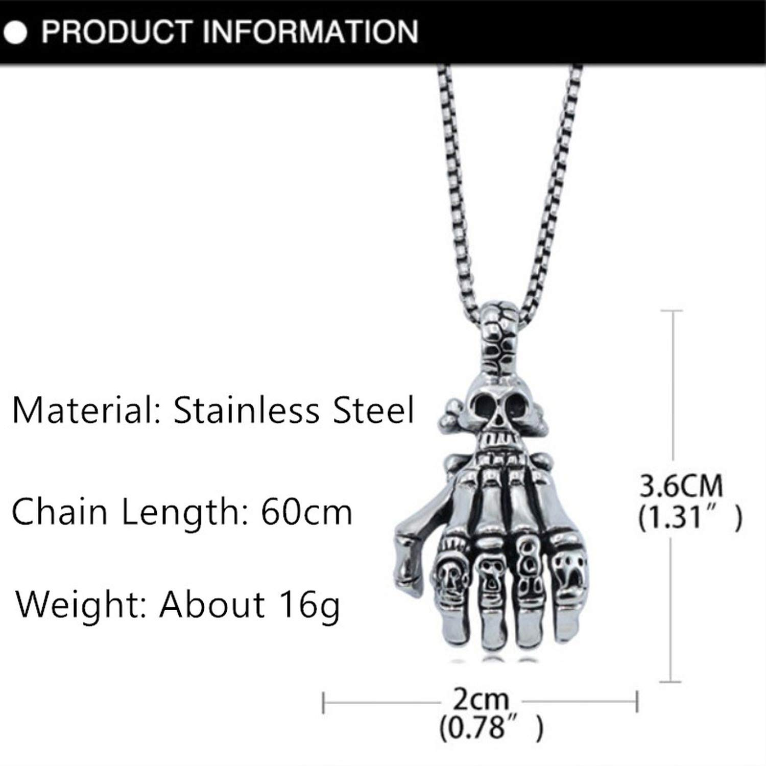 316 Titanium Stainless Steel Men Necklace Vintage Skull Ghost Hand Pendant Necklace for Men Boys Party Nightclub Jewelry Gift