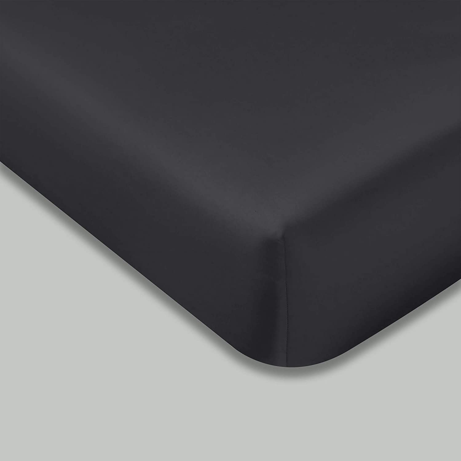 """400 TC GOTS Certified 100% Organic Cotton Twin Sateen Weave Fitted Sheet - Fits Mattress Up to 15"""" Deep Pocket - Supremely Soft & Shiny Close to Nature Biodegradable Sheet - Dark Grey - Twin Fitted"""