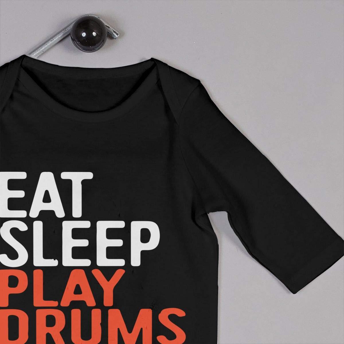 UGFGF-S3 Eat Sleep Play Drums Repeat Toddler Baby Long Sleeve Romper Jumpsuit Infant Romper Jumpsuit