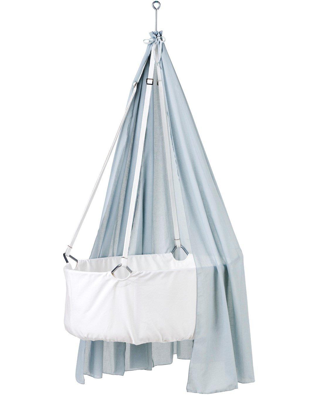 Leander Wiege - Babywiege weiß inkl. Matratze und Deckenhaken - mit Himmel (Schleier) misty blue