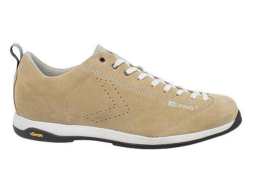 KEFAS - Zapatillas de ante para hombre, color blanco, talla 35.5