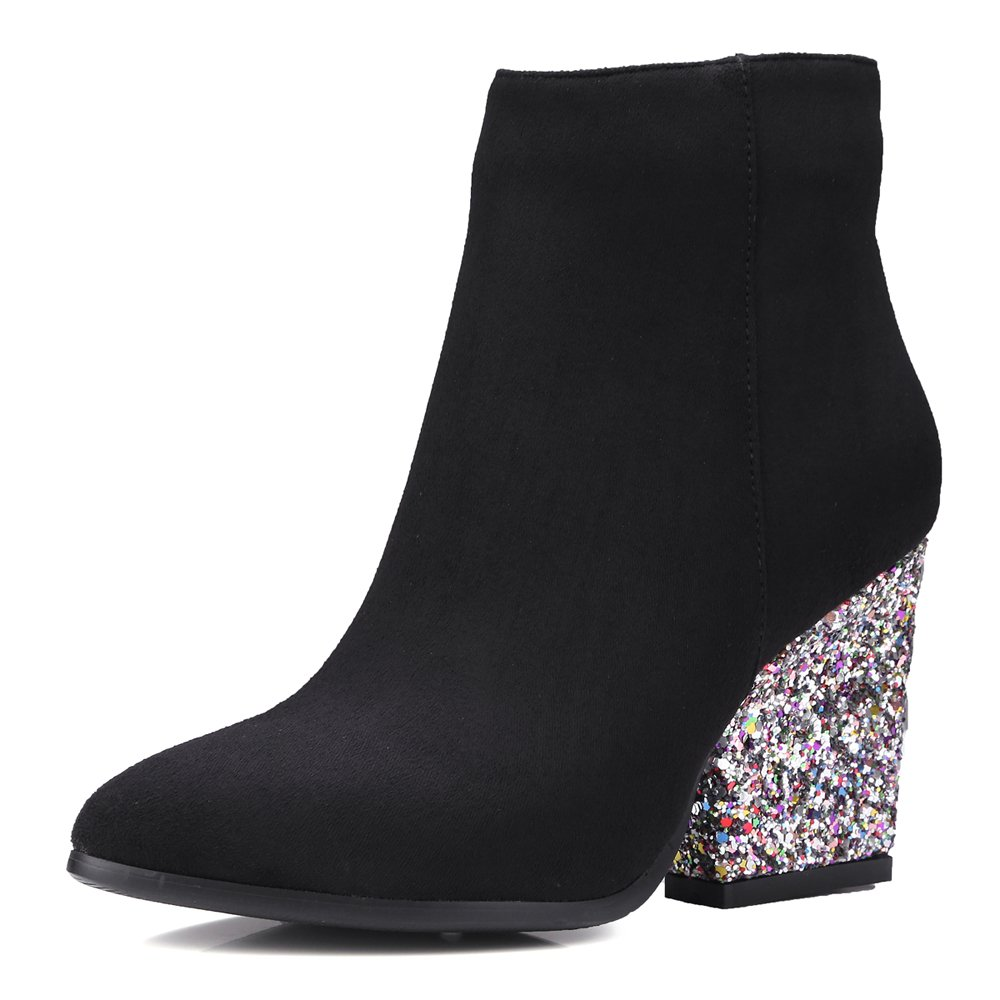 Meotina Brand Designer High Heels Women Ankle Boots Zip Glitter Thick Heel Ladies Boots Winter B077QYV19X 10.5 B(M) US|Black