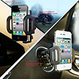 2-in-1 Gooseneck Mobile Phone Car Mount, Holder, Cradle/Stand for Holding Car Cell Phone/GPS on Suction Cup Windshield or Air Vent fit for iPhone 6 6+ Galaxy S6 S5 Smart Phones