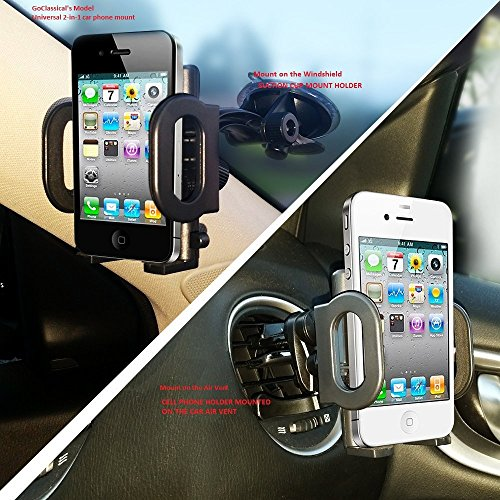 2-in-1 Gooseneck Mobile Phone Car Mount, Holder, Cradle/Stand for Holding Car Cell Phone/GPS on Suction Cup Windshield or Air Vent fit for iPhone 6 6+ Galaxy S6 S5 Smart Phones (BLACK)