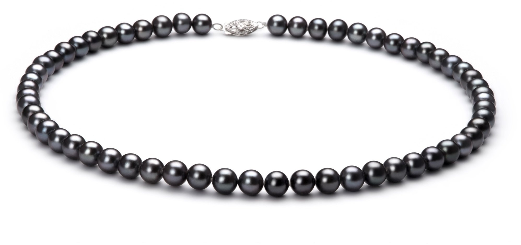 PearlsOnly - Black 6-7mm AA Quality Freshwater 925 Sterling Silver Cultured Pearl Necklace-18 in Princess length