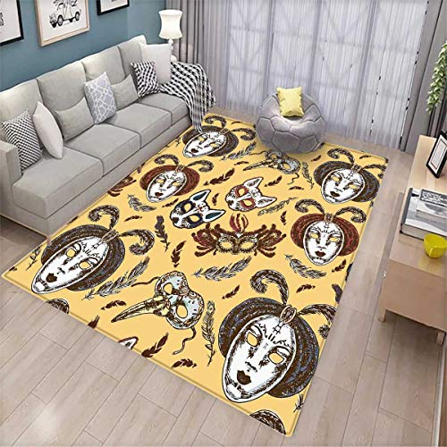 Masquerade Floor Mat for Kids Venetian Style Paper Mache Face Mask with Feathers Dance Event Theme Bath Mat Non Slip Mustard Brown White by smallbeefly