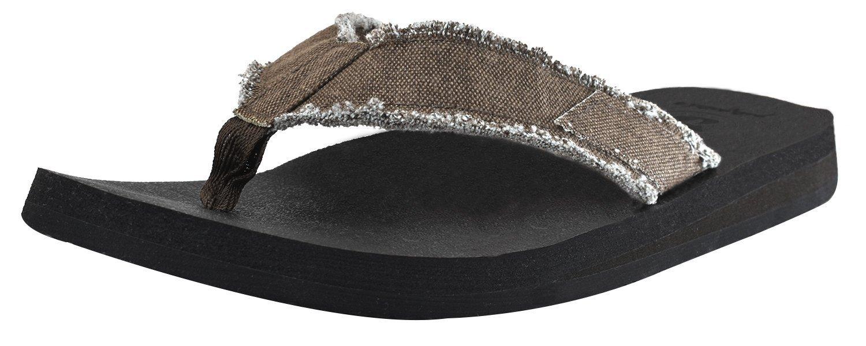Canvas Men's Flip Flops Cushion Yoga Foam Thong Sandals Non Slip
