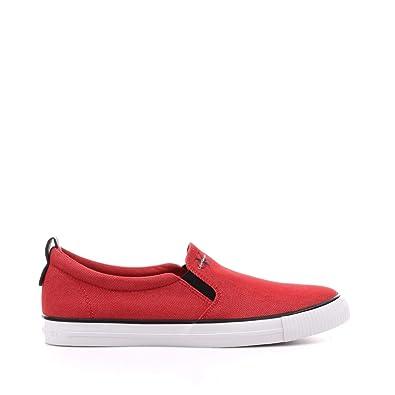 Calvin Klein Mocasines de Lona Para Hombre Rojo Rojo: Amazon.es: Zapatos y complementos