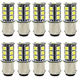 JAVR - Pack of 10-6500K White 1142 BA15D 1076 1176 LED Bulbs 5050 18-SMD Replacement Lamps for 12V Interior RV Camper Trailer Lighting Boat Yard Light Tail Bulbs