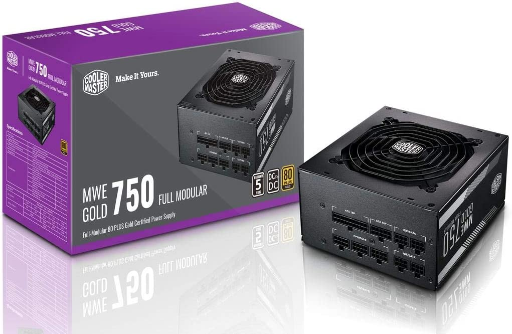 Cooler Master MPY-7501-AFAAG-US MWE 750 Gold Full Modular, 80+ Gold Certified 750W Power Supply, 5 Year Warranty