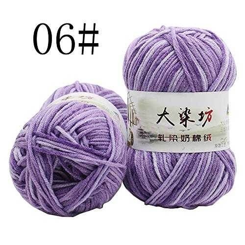 Zduang Multi-Colors Hand Dyed Super Soft Crochet Craft Cotton Knitting Yarn Milk Fiber
