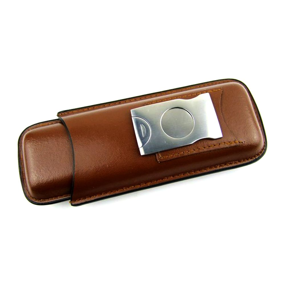 Genuine Leather Pocket Cigar Travel Holder, Ehonestbuy 2 Compartments Mini Humidor Case with Cigar Cutter (Smooth Brown)