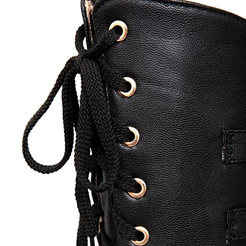 Breasted Short Closed Toe Kitten Round Solid Black Double PU Plush AmoonyFashion Boots Womens with Heels wqOCgg