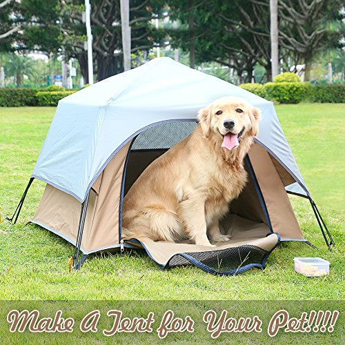 Yolafe Portable Pet Tent, Outdoor Pet Kennel with Innovative Instant Setup Centre Hub Design, Ideal for Camping with Cats and Dogs, Included Black Carry Bag and 2 (Brown) by Yolafe (Image #7)