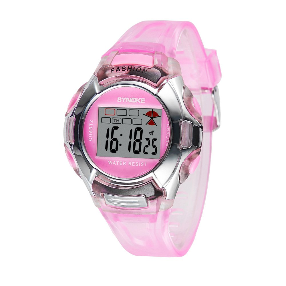 Romacci Kids LED Digital Sports Wristwatch Outdoor Children's Wrist Dress Waterproof Watch with Silicone Band Alarm Genuine for Girls -Pink