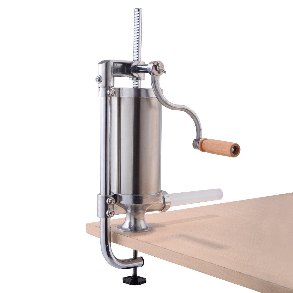 GOPLUS Insaccatrice manuale Insaccatrice per salsicce Macchina per salsiccia in acciaio inossidabile Imbuti insaccatori con 4 tubi di riempimento