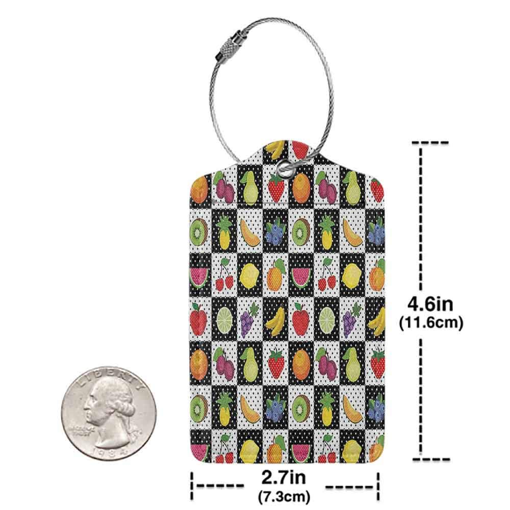Multicolor luggage tag Black and White Decor Kitchen Fruits Vegetables Nature with Dots Chess Squares Art Design Hanging on the suitcase Multicolor W2.7 x L4.6