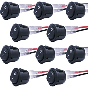 mxuteuk 10pcs Snap-in Round Boat Rocker Switch Toggle Power with Wire SPST ON-Off 2 Pin AC 250V 6A 125V 10A, Use for Car Auto Boat Household Appliances 1 Years Warranty MXU1-5-101-CX