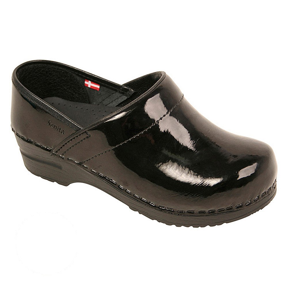 Sanita Women's Professional Patent Clog, Black, 37 Medium EU (6.5 US)