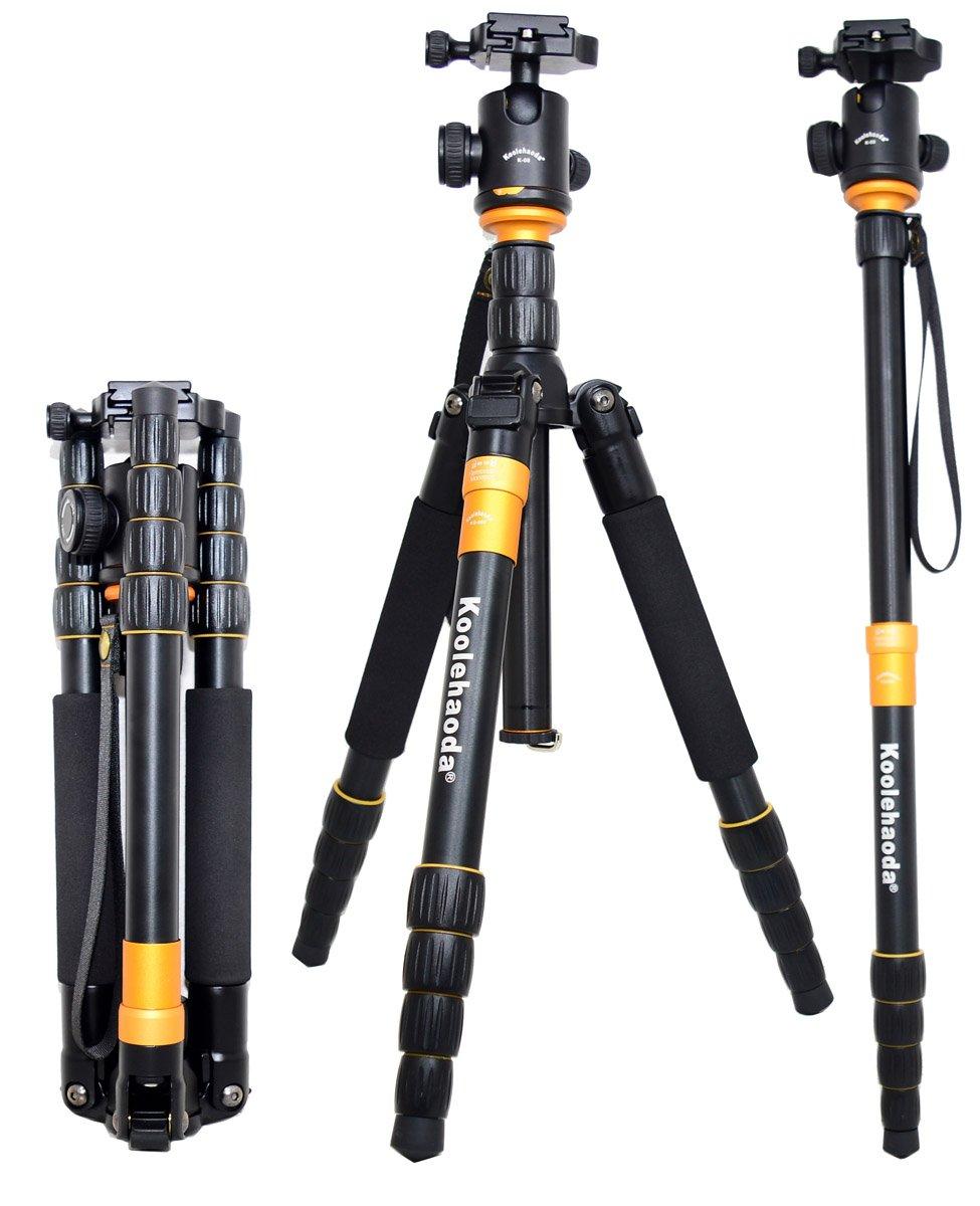 koolehaoda Q-666 SLR Camera Tripod Monopod & Ball Head Portable Compact Travel koledea