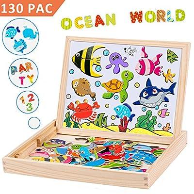 Uping Puzzle Magnetique Bois avec Tableau Double Face Aimanté pour Enfant 3 Ans et plus-130 Pièces