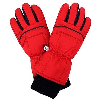 18f6ded09de03 スキーグローブ 子供 スキー 手袋 キッズ 男の子 五本指 スノーグローブ レッド JM(19cm