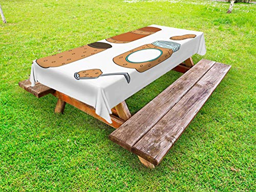 Ambesonne Peanut Butter Outdoor Tablecloth, Cartoon Breakfast Smooth and Crunchy Varieties Food in a Jar, Decorative Washable Picnic Table Cloth, 58 X 120 Inches, Brown Pale Blue Pale Brown