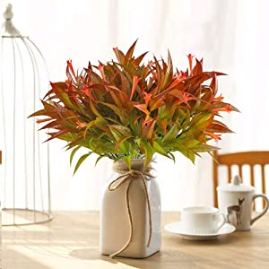 MHMJON 4PCS Artificial Flowers Outdoor UV Resistant Fake Morning Glory Shrubs Faux Plants Home Kitchen Office DIY Hotel Table Centerpieces Floor Garden Wedding Decor