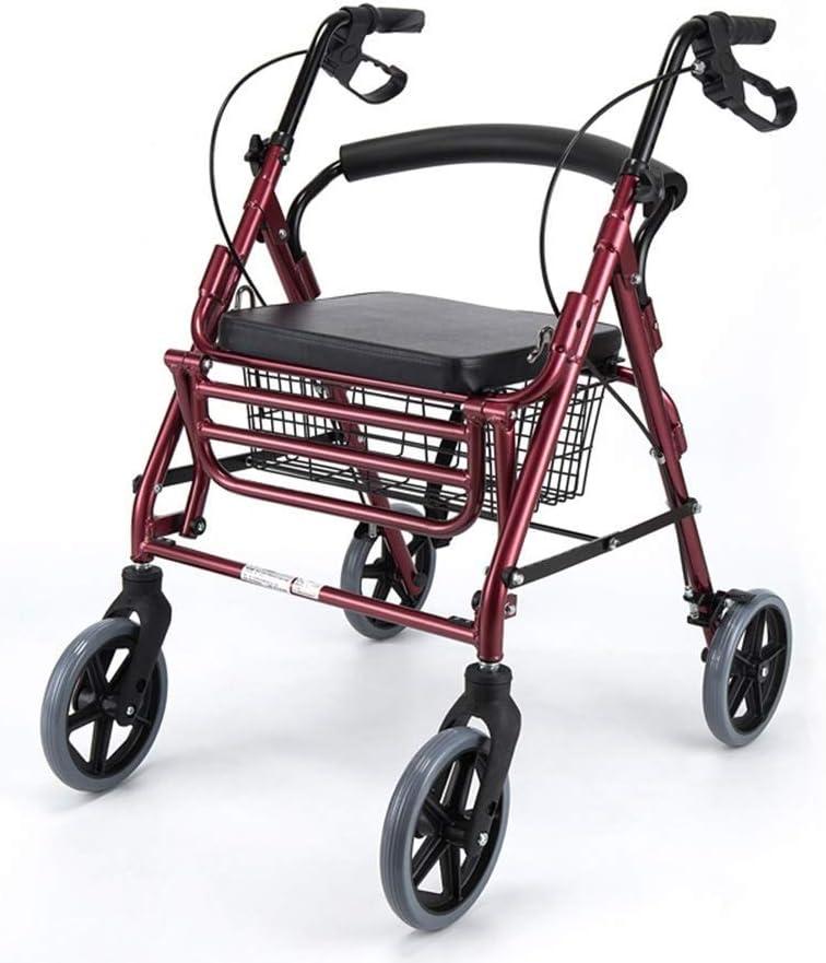 SMX Andador con Asiento, manijas cómodas y Respaldo Grueso, Andador Plegable for Personas Mayores, Andador ultradelgado con Freno de Mano (Color : Red)
