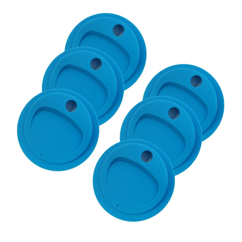THINKCHANCES Reusable Food Grade and BPA Free Silicone Circulr Drinking Sip Lid for Mason, Ball, Canning Jars (Regular Mouth, Blue) 6 Pack