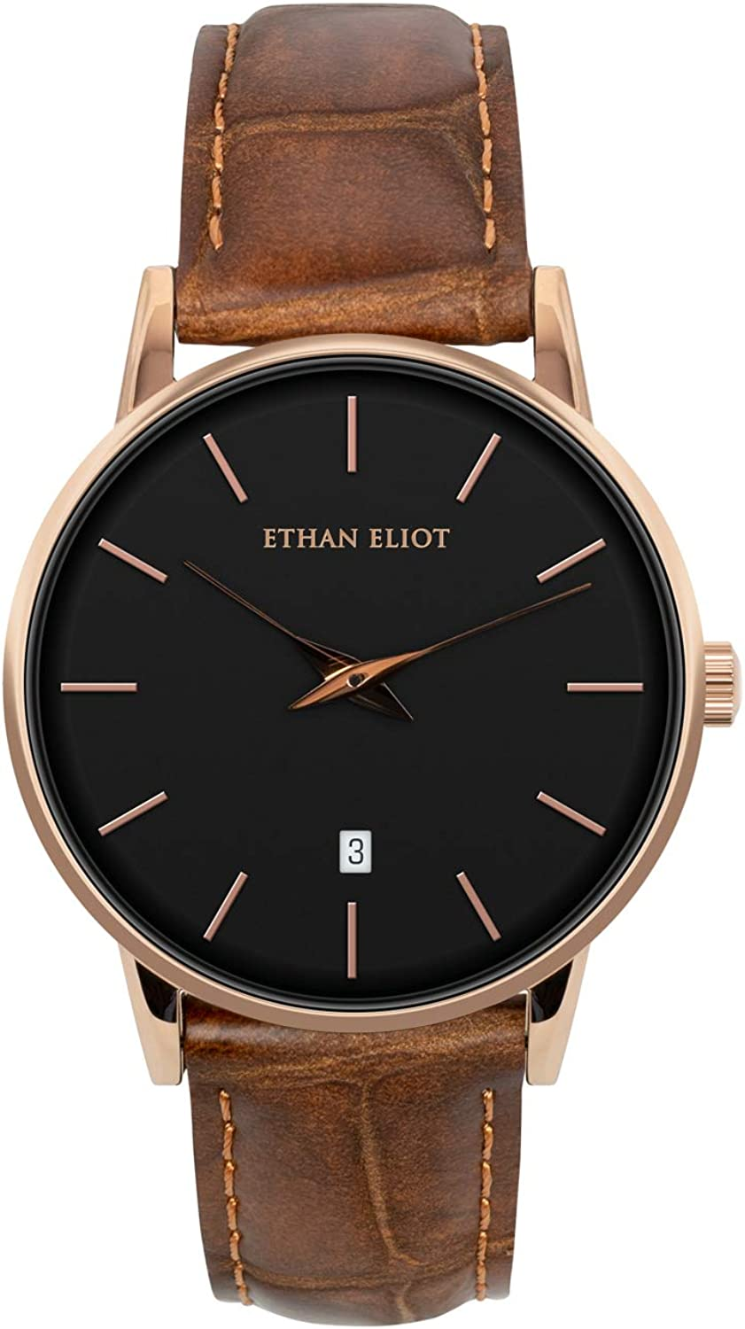 Ethan Eliot Classic Men s Watch, Women s Watch, Melrose 38mm Rose Gold Watch for Men Watch for Women Unisex with Date, Black Face 5ATM