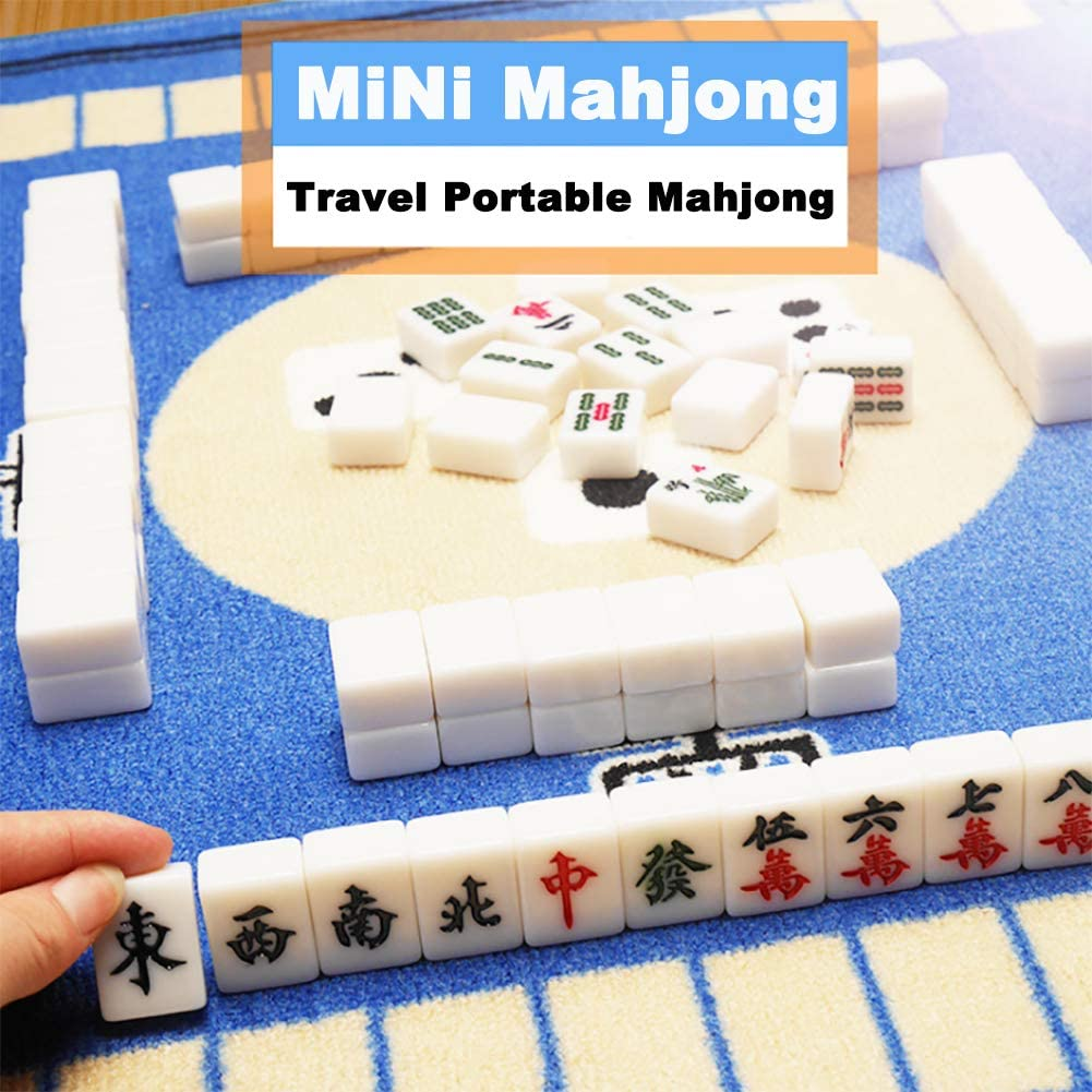 Solid Structure Wear-Resistant And Durable Suitable For Various Gatherings Travel Portable Mahjong Long Box Type Melamine Material Containing 4 Place Calipers