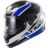 LS2 Stream Omega Full Face Motorcycle Helmet With Sunshield (Blue, Medium)