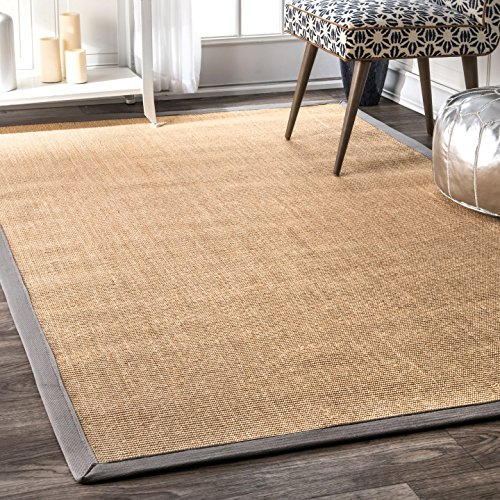 Damask Sisal Rug (nuLOOM 100-Percent Sisal Machine Woven Julie Sisal Area Rug, 8-Feet 10-Inch by 12-Feet, Light Grey)